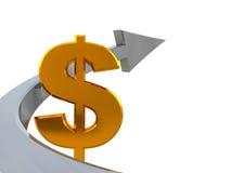Dollar sign and arrow. 3d illustration of golden dollar sign and arrow over white background Royalty Free Stock Photos