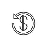 Dollar sign with arrow around line icon, outline vector sign Stock Photos