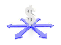 Dollar sign with arrow concept graphic Stock Image