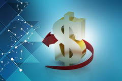 Dollar sign with arrow, economic security concept Stock Photography