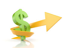 Dollar sign with arrow. Symbolize growth Stock Photography