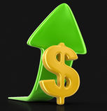 Dollar sign with arrow up. Image with clipping path Royalty Free Stock Photography