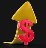 Dollar sign with arrow up. Image with clipping path Stock Images