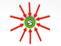 Dollar sign on arrows Royalty Free Stock Photos
