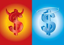Dollar sign as devil and angel Royalty Free Stock Images