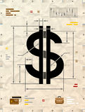 Dollar sign as technical blueprint drawing Royalty Free Stock Images