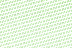 Dollar Sign Background. Background image filled with hundreds of green computer-generated dollar signs on white Stock Image