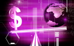 Dollar sign balance. Digital illustration of balanced dollar sign with globe Stock Photos