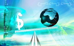 Dollar sign balanced. Digital illustration of balanced dollar sign with globe Royalty Free Stock Photo