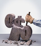 Dollar sign. Being carved with chisel Stock Image