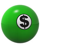 Dollar Sign Billard Ball. This is a high resolution rendering of a billiards or pool ball with a dollar sign and   a slight reflection across the bottom of the Royalty Free Stock Photography