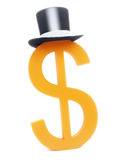 Dollar sign with black hat top Stock Image