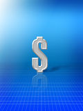 Dollar sign on blue background. Single silver dollar sign on blue background with graph pattern and copy space