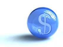 Dollar sign on blue ball Stock Image