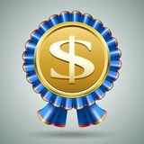 Dollar sign in a blue ribbon rosette. Vector badge with a dollar sign embossed on a metallic gold medallion in a pleated blue ribbon rosette on a grey background Stock Image