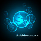Dollar sign in Blue sky bubble economic vector background Royalty Free Stock Photos