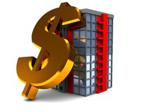Dollar sign and building Stock Image