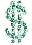 Dollar sign of business and financial icons. Dollar sign composed of scattered assorted business and financial icons in green and white for financial or Royalty Free Stock Photography