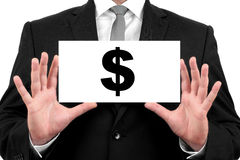 Dollar sign. Businessman shows business card Royalty Free Stock Images