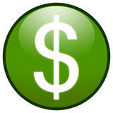 Dollar sign Button Icon (green). Highresolution green button/icon style image of dollar sign royalty free illustration