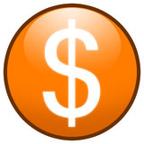 Dollar sign Button Icon (orange). Highresolution orange button/icon style image of dollar sign stock illustration