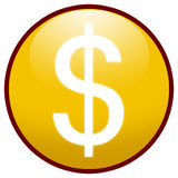 Dollar sign Button Icon (yellow). Highresolution yellow button/icon style image of dollar sign stock illustration
