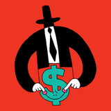 Dollar sign cartoon character economics money finance. Concept illustration Stock Photography