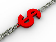 Dollar sign in chain Royalty Free Stock Images