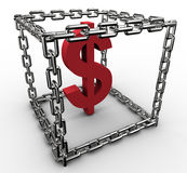 Dollar sign in chain box Royalty Free Stock Photography