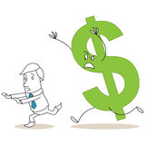 Dollar sign chasing scared cartoon businessman Stock Photography