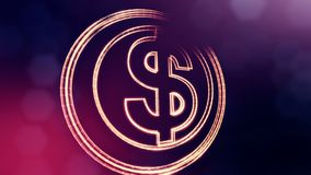 Dollar sign in circles. Finance background of luminous particles. 3D loop animation with depth of field, bokeh and copy. Space for your text royalty free illustration