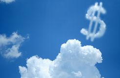 Dollar Sign Cloud. This dollar sign cloud sits to the right of the frame leaving room for any text that may be inserted Royalty Free Stock Photos