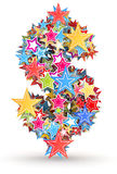 Dollar sign from colored stars. Dollar sign , from bright colored holiday stars staked stock illustration