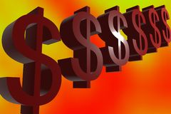 Dollar sign on colorful background. 3D illustration of Dollar sign on colorful background Royalty Free Stock Photos