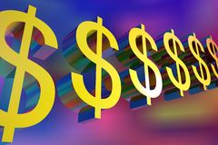 Dollar sign on colorful background. 3D illustration of Dollar sign on colorful background Royalty Free Stock Photography