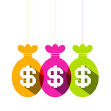Dollar Sign in Colorful Bags Set Stock Image