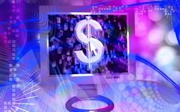 Dollar sign on computer screen Stock Images