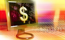 Dollar sign on computer screen Royalty Free Stock Images