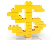 Dollar sign concept built from toy bricks.3d illustration. In backgrounds Royalty Free Stock Photo