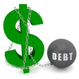 Dollar sign connected in a chain of debt Stock Image