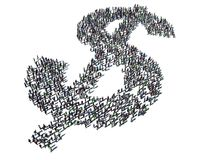 Dollar Sign Crowd. Over 1,000 people congregated in the shape of a dollar sign Royalty Free Stock Photo