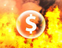 Dollar sign in crystal ball on fire. Insurance concept Royalty Free Stock Images