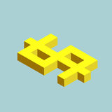 Dollar sign cubes form, buck fell. Isometric US currency icon, vector illustration.  Royalty Free Stock Photography