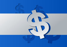 Dollar Sign Cut from White Paper on Blue Background Stock Image
