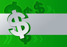 Dollar Sign Cut from White Paper on Green Background Royalty Free Stock Image