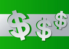 Dollar Sign Cut from White Paper on Green Background Stock Image