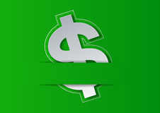 Dollar Sign Cut from White Paper on Green Background Royalty Free Stock Photo