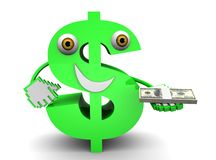 Dollar sign. 3D illustration of Dollar sign with dollars Stock Images