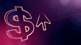 Dollar sign and emblem of arrow. Finance background of luminous particles. 3D loop animation with depth of field, bokeh. And copy space for your text royalty free illustration