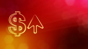 Dollar sign and emblem of arrow. Finance background of luminous particles. 3D loop animation with depth of field, bokeh. And copy space for your text stock illustration